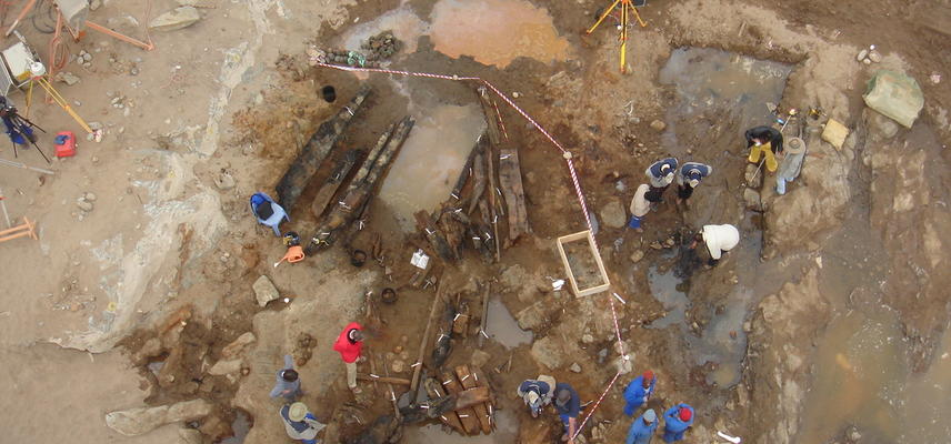 Aerial view of archaeological excavations of the shipwreck after its discovery during diamond mining operations in 2008. Photo by: National Museum of Namibia, Windhoek