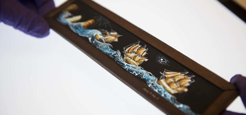 Miniature painting of ships at sea