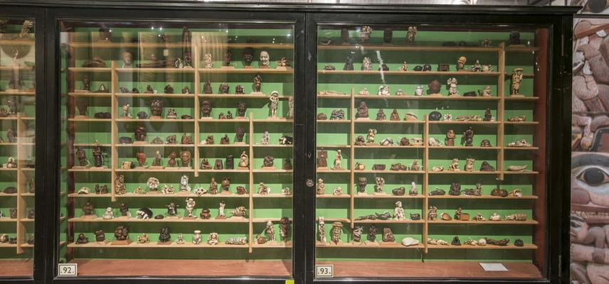 Display cases with Japanese figurines