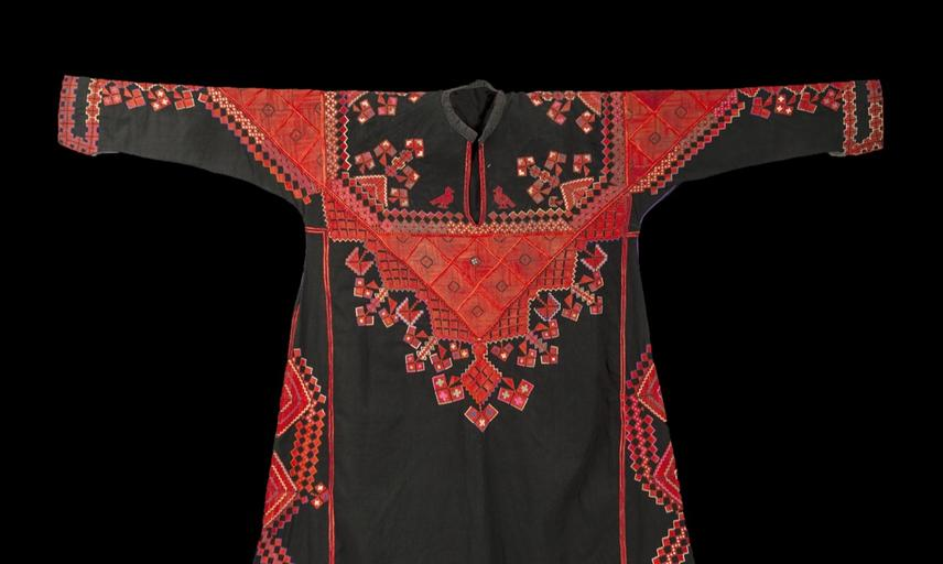Embroidered dress (front). Saraqib, Syria. Mid-twentieth century.
