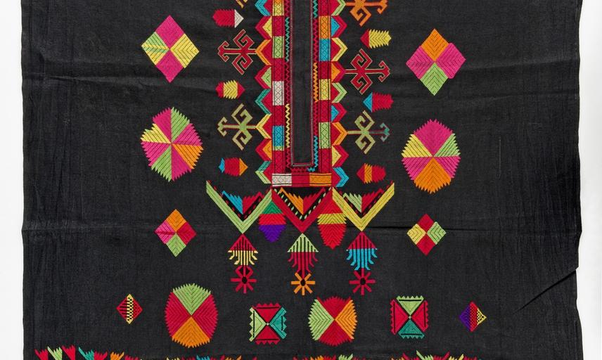 Embroidered cotton shift (incomplete). Bar Paro, Palas Valley, Kohistan, Pakistan. Instead of traditional silk, solar motifs and the protective power of the triangle are embroidered in cotton yarn. (Copyright Pitt Rivers Museum, University of Oxford. Acce