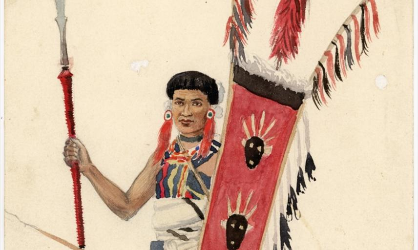 Portrait of an Angami Naga man named 'Dotsoll', depicted standing, holding two spears and a shield. Watercolour painting by Robert Gosset Woodthorpe. Dated 19 April 1874.