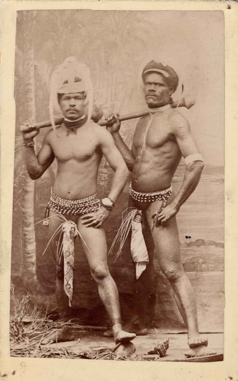 Carte-de-visite of two men of New  Caledonia by Edward Henry Dufty,  about 1877. PRM 1998.276.57.